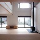 大泉学園の家(薪ストーブを設けた吹抜けを中心とした自然素材の家)の写真 リビング(吹き抜けと薪ストーブのリビング、南庭のウッドデッキを望む)