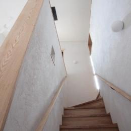 大泉学園の家(薪ストーブを設けた吹抜けを中心とした自然素材の家) (階段(リビング内階段))