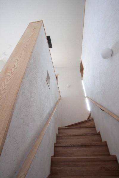 階段(リビング内階段) (大泉学園の家(薪ストーブを設けた吹抜けを中心とした自然素材の家))