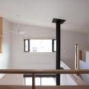 大泉学園の家(薪ストーブを設けた吹抜けを中心とした自然素材の家)の写真 2階の廊下(南面(吹抜け)を望む)