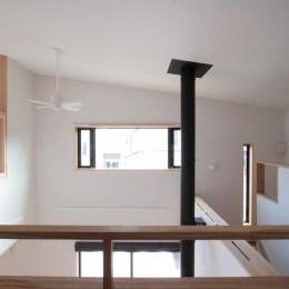 大泉学園の家(薪ストーブを設けた吹抜けを中心とした自然素材の家) (2階の廊下(南面(吹抜け)を望む))