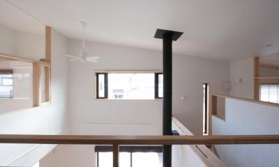 2階の廊下(南面(吹抜け)を望む)|大泉学園の家(薪ストーブを設けた吹抜けを中心とした自然素材の家)