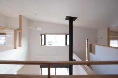 2階の廊下(南面(吹抜け)を望む) (大泉学園の家(薪ストーブを設けた吹抜けを中心とした自然素材の家))