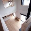 大泉学園の家(薪ストーブを設けた吹抜けを中心とした自然素材の家)の写真 吹き抜け(下階のリビングダイニングを望む)