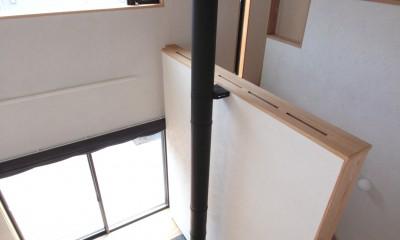 吹き抜け(下階のリビング、薪ストーブ、階段廻りを望む)|大泉学園の家(薪ストーブを設けた吹抜けを中心とした自然素材の家)