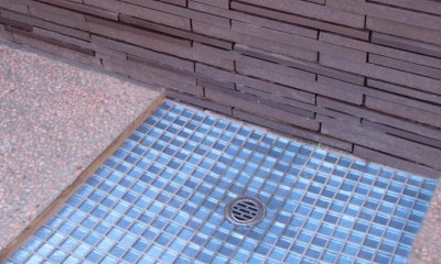 大泉学園の家(薪ストーブを設けた吹抜けを中心とした自然素材の家) (南庭の水場)