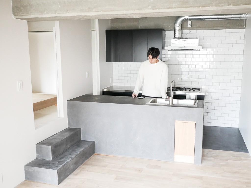 キッチン事例:モールテックスキッチン(モールテックスキッチンのシンプルリノベーション)