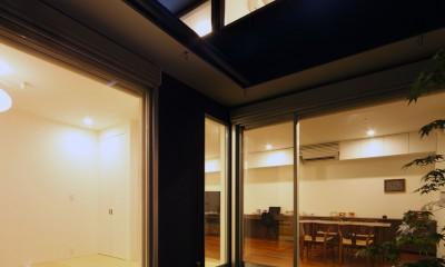 黒壁の家 – 旗竿地に建つF字型プランの家 – (中庭)