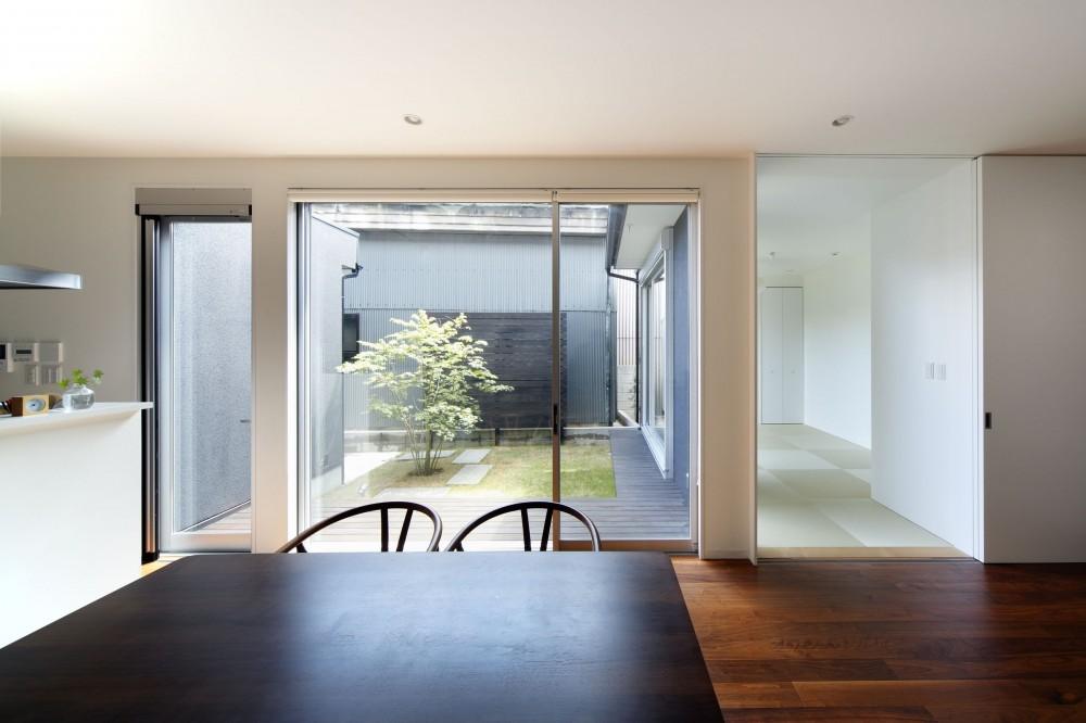 黒壁の家 – 旗竿地に建つF字型プランの家 – (ダイニングから)