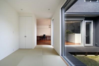 和室 (黒壁の家 – 旗竿地に建つF字型プランの家 –)