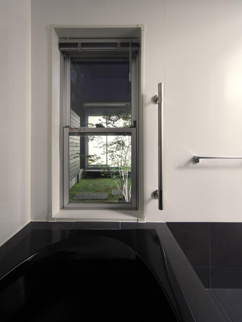 黒壁の家 – 旗竿地に建つF字型プランの家 – (浴室から中庭を見る)