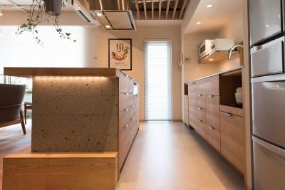 シンプルなキッチン (豊島区Wさんの家)