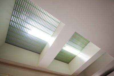 リビングダイニング (光天井を持つリビング|昼なお暗いリビングを光天井で明るく照らす)