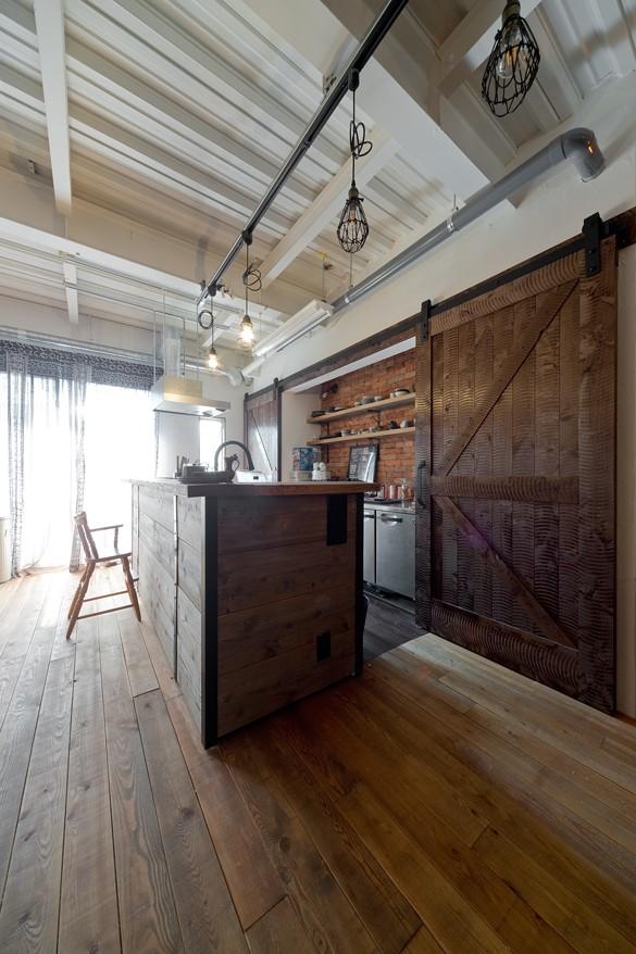 キッチン事例:アメリカンスタイルキッチン(暮らしながら育むブルックリンスタイルの鉄骨住宅)