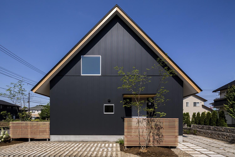 外観事例:外観(castor/単純な大屋根形状に普遍的な間取りを、立体的断面形状で組み込んでみる。)