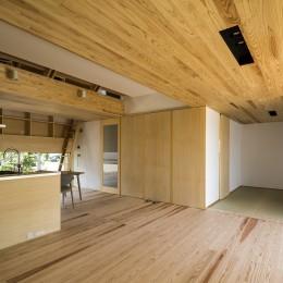 castor/単純な大屋根形状に普遍的な間取りを、立体的断面形状で組み込んでみる。 (リビング)