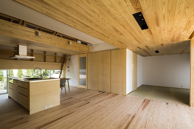 リビングダイニング事例:リビング(castor/単純な大屋根形状に普遍的な間取りを、立体的断面形状で組み込んでみる。)