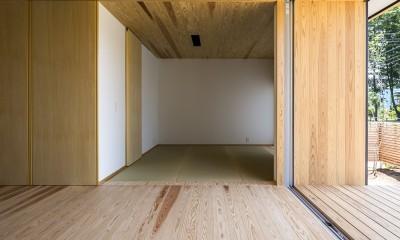 castor/単純な大屋根形状に普遍的な間取りを、立体的断面形状で組み込んでみる。 (和室)