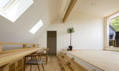 castor/単純な大屋根形状に普遍的な間取りを、立体的断面形状で組み込んでみる。 (スタディスペース)