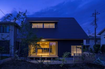 外観 (castor/単純な大屋根形状に普遍的な間取りを、立体的断面形状で組み込んでみる。)