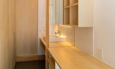 elnath/平面的、立体的な斜めの壁によって構成された空間を考えてみる。 (書斎・洗面)