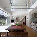 元山城に建つドックランのある家 -滋賀の家-の写真 リビングダイニング