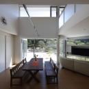 元山城に建つドックランのある家 -滋賀の家-の写真 キッチンからドッグランを見る