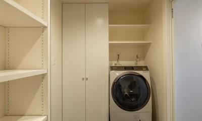 風窓の家 (収納を効率的に確保している洗面脱衣室)