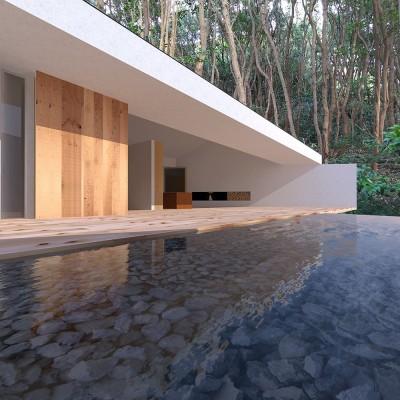 志摩別荘|海のリゾート地に開かれたプライベートな週末の家 (大開口のリビング)