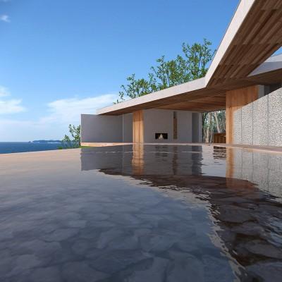 志摩別荘|海のリゾート地に開かれたプライベートな週末の家 (水盤 デッキ)