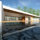 志摩別荘|海のリゾート地に開かれたプライベートな週末の家の写真 リビング 水盤