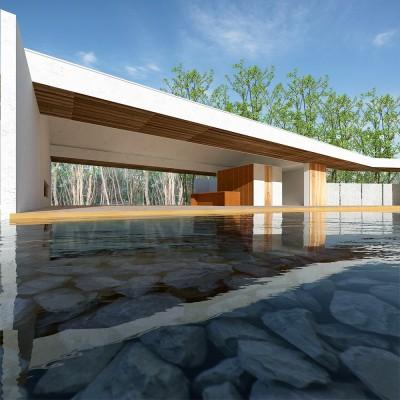 志摩別荘|海のリゾート地に開かれたプライベートな週末の家 (リビング 水盤)