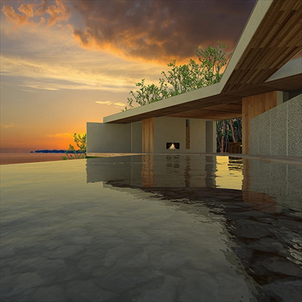 外観事例:水盤 中庭(志摩別荘|海のリゾート地に開かれたプライベートな週末の家)