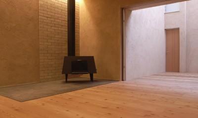 二世帯を繋げる中庭|二世帯の中庭のある家へリノベーション (リビング)