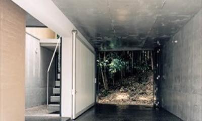 ホタルの棲む竹薮と共生 - 中庭のある15坪の狭小住宅|春日町の家 (通り土間)