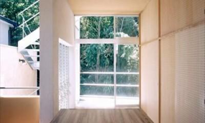ホタルの棲む竹薮と共生 - 中庭のある15坪の狭小住宅|春日町の家 (テラス)