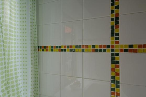 パティオのある家の写真 モザイクタイルの浴室