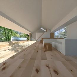 生駒の家|山のリゾート地に開かれたプライベートな週末の家 (リビング)