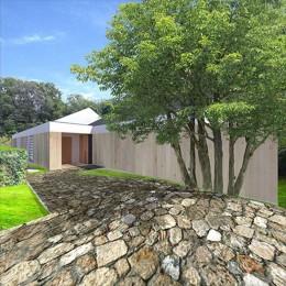 生駒の家|山のリゾート地に開かれたプライベートな週末の家 (外観 エントランス)