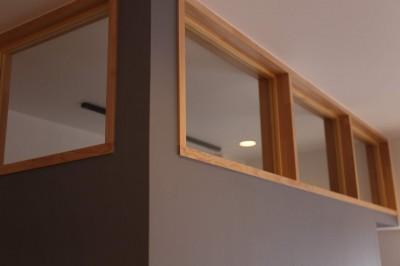 色のコントラストが美しい家 (室内窓)