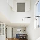 間窓の家 - ギャラリーのある暮らしの写真 吹抜けのあるリビング
