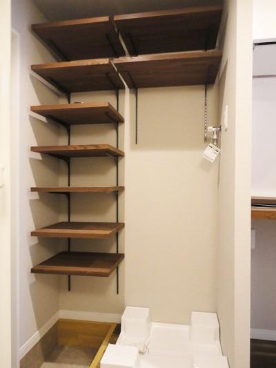 玄関収納 (天然木の床と造作キッチン)