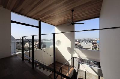 2階廊下から眺める景色 (街を一望する家)