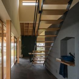 風景を取り込む寺庄の家 (ストリップ階段のあるエントランス)