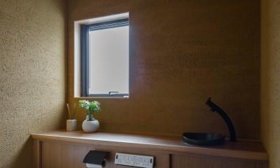 風景を取り込む寺庄の家 (左官で仕上げたトイレ)
