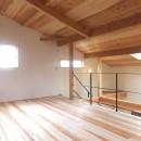 自転車と共に過ごせる土間リビングのある家 飯能市・S邸の写真 吹抜けでダイニングキッチンとつながるオープンな寝室-2