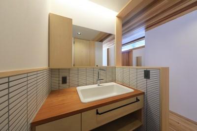 洗面スペース (清武町の家~素材感を愉しむ家~)