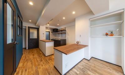 キッチン|にゃんことの暮らしを最大限楽しむ家(S様邸)|スリーエイト株式会社
