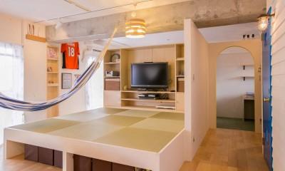 room blue ballen~「妻に心ときめくキッチンを」。想い溢れるワンルーム的リノベーション~ (リビングダイニング)