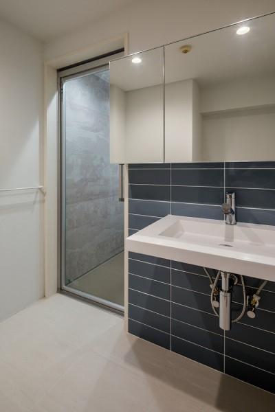 洗面脱衣室 (通り土間の家)